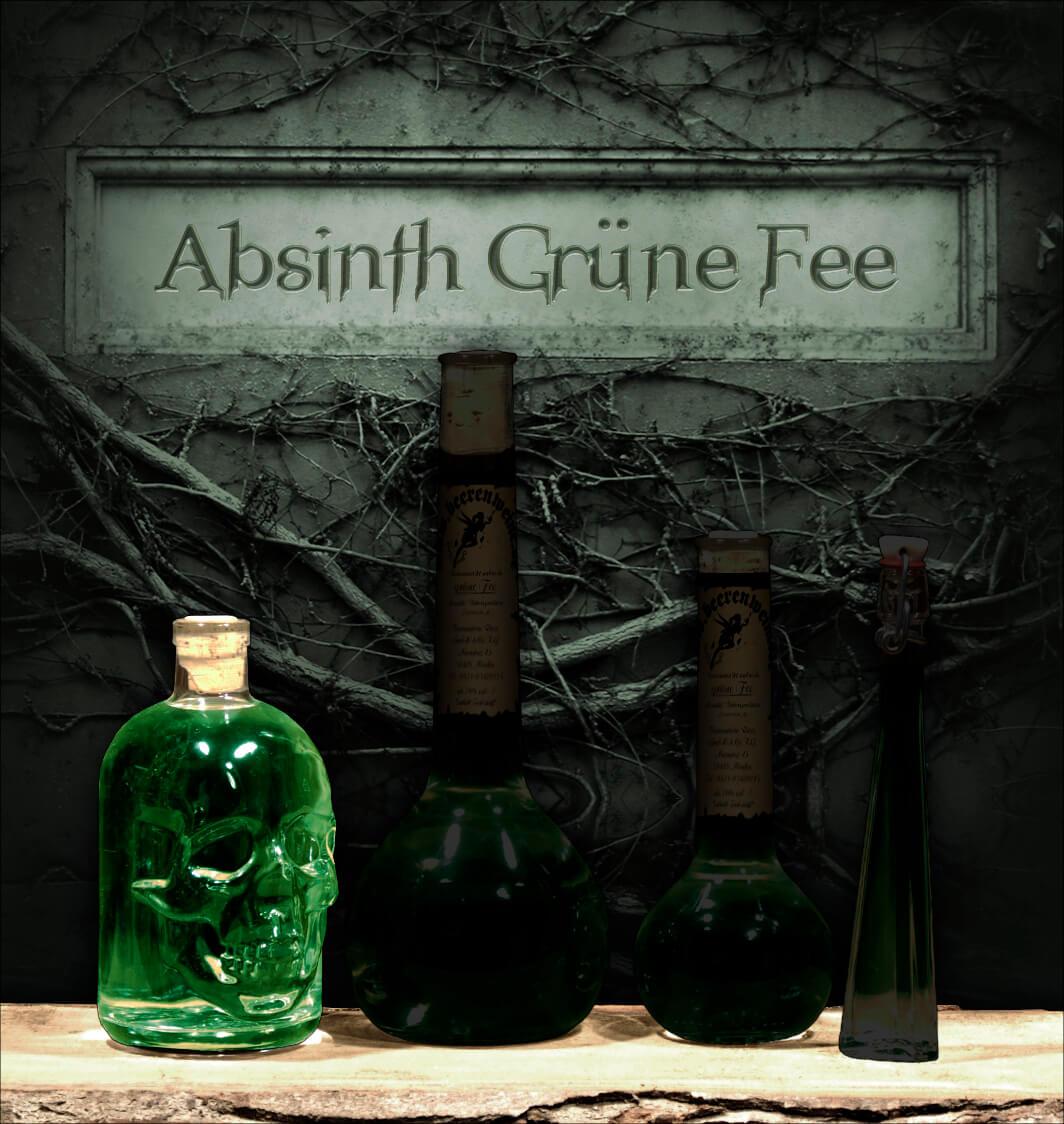 """Absinth """"Grüne Fee"""" 0,5 Liter Totenkopfflasche"""