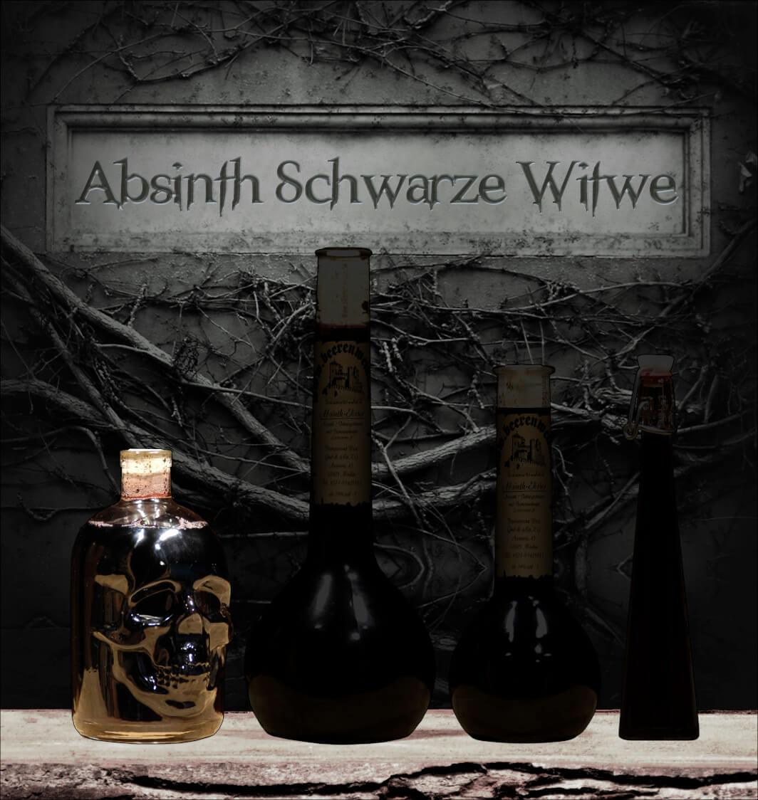 """Absinth """"Schwarze Witwe"""" 0,5 Liter Totenkopfflasche"""