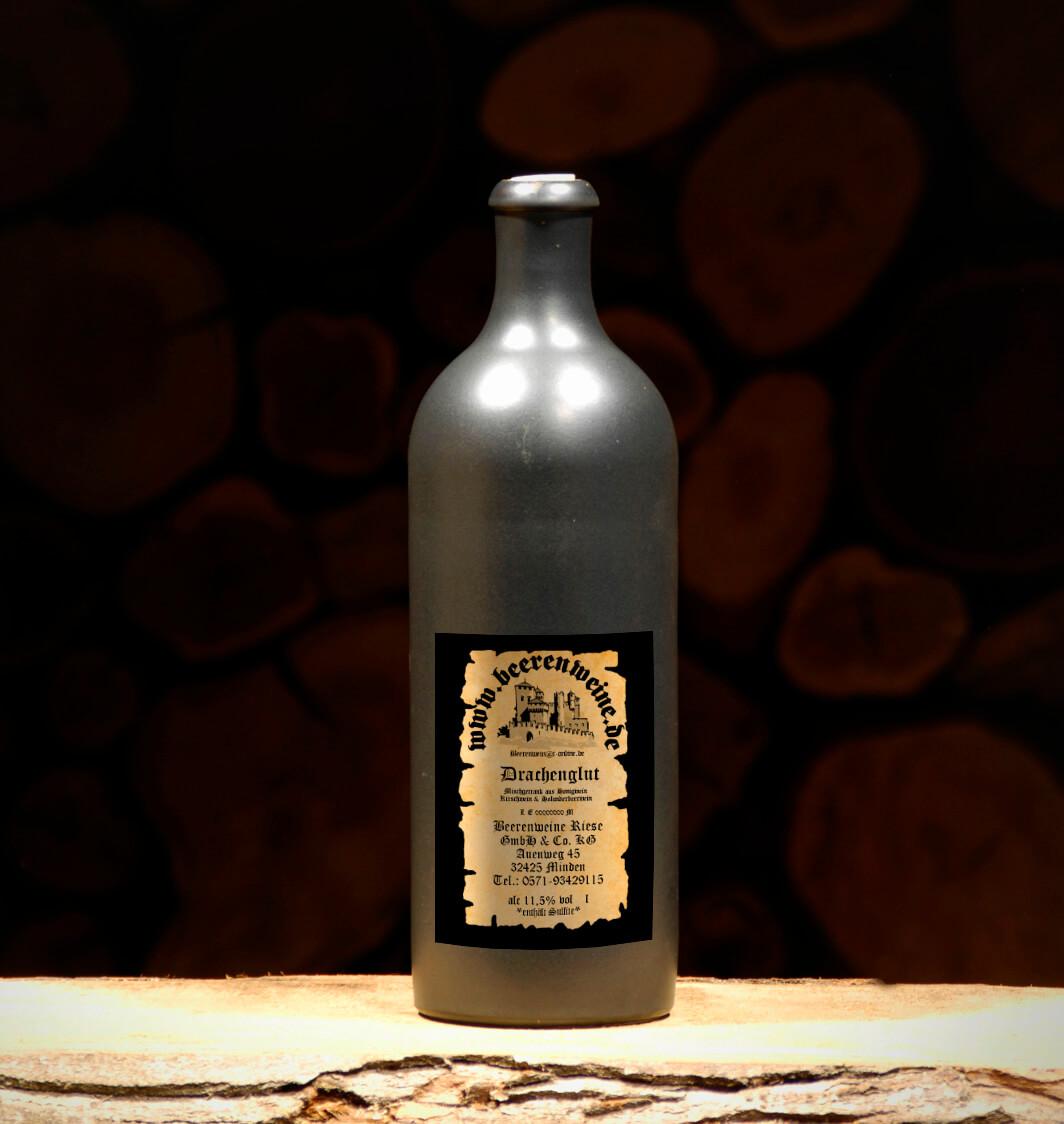 Drachenglut 0,75 Liter Tonflasche schwarz