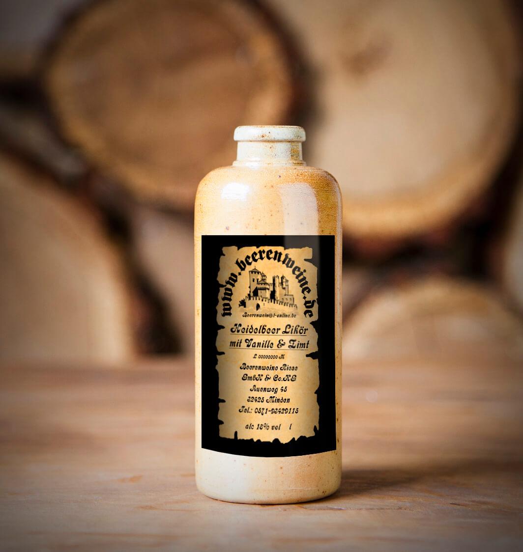 Heidelbeer-Vanille Likör 0,2 Liter Tonflasche