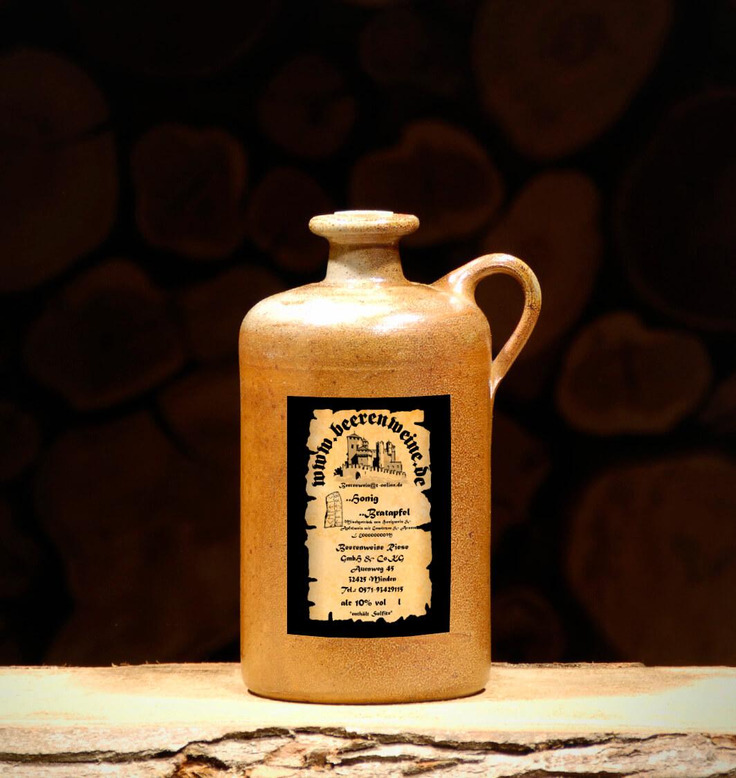 Honig-Bratapfel 0,75 Liter Tonflasche mit Henkel