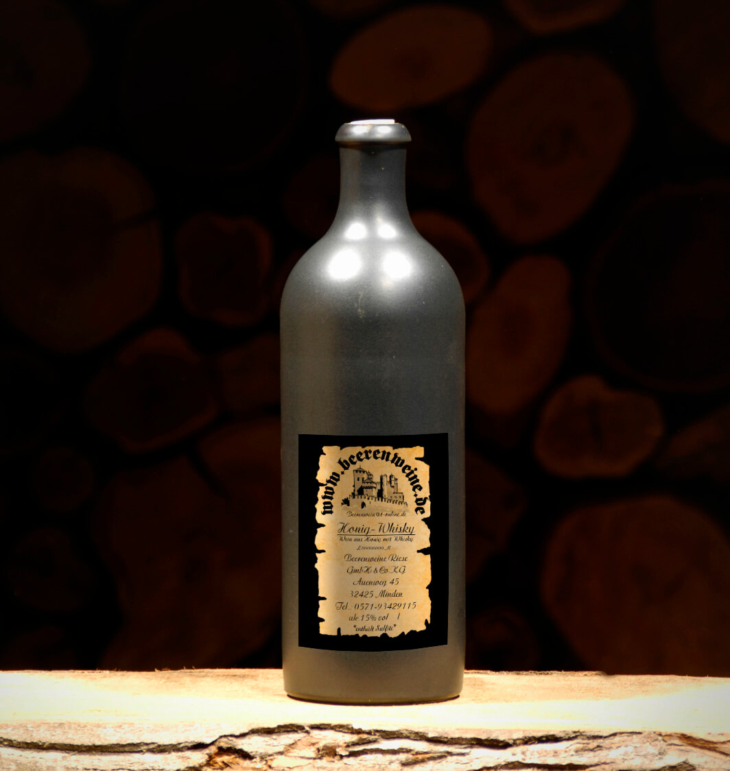 Honig Whisky 0,75 Liter Tonflasche schwarz