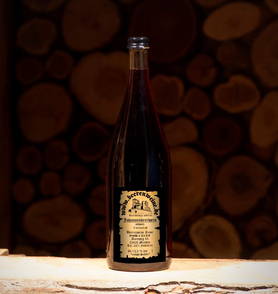 Johannisbeerwein schwarz 1,0 Liter Euroflasche