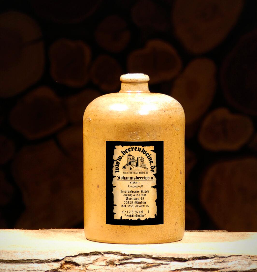 Johannisbeerwein schwarz 1,0 Liter Tonflasche