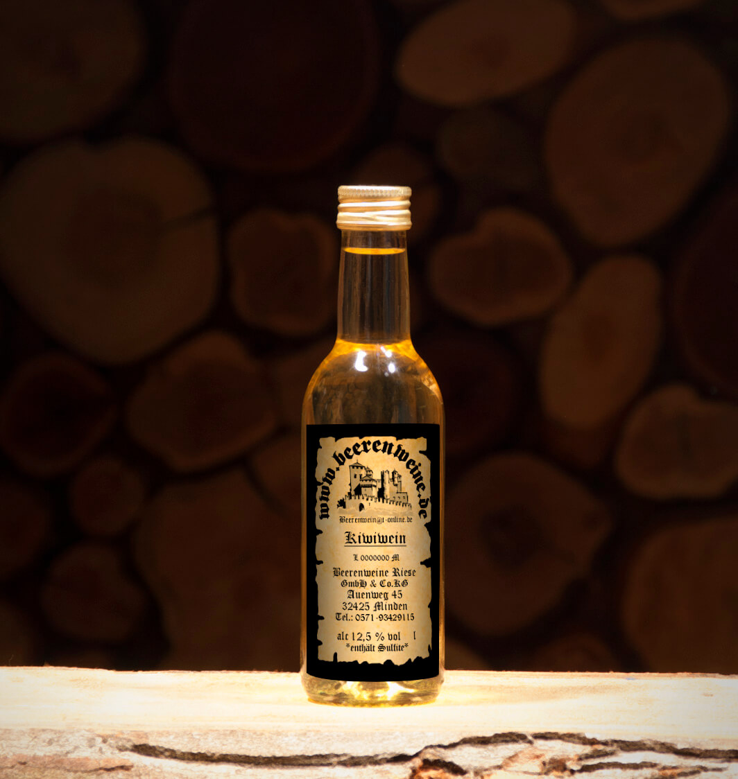 Kiwiwein 0,25 Liter Bordeauxflasche