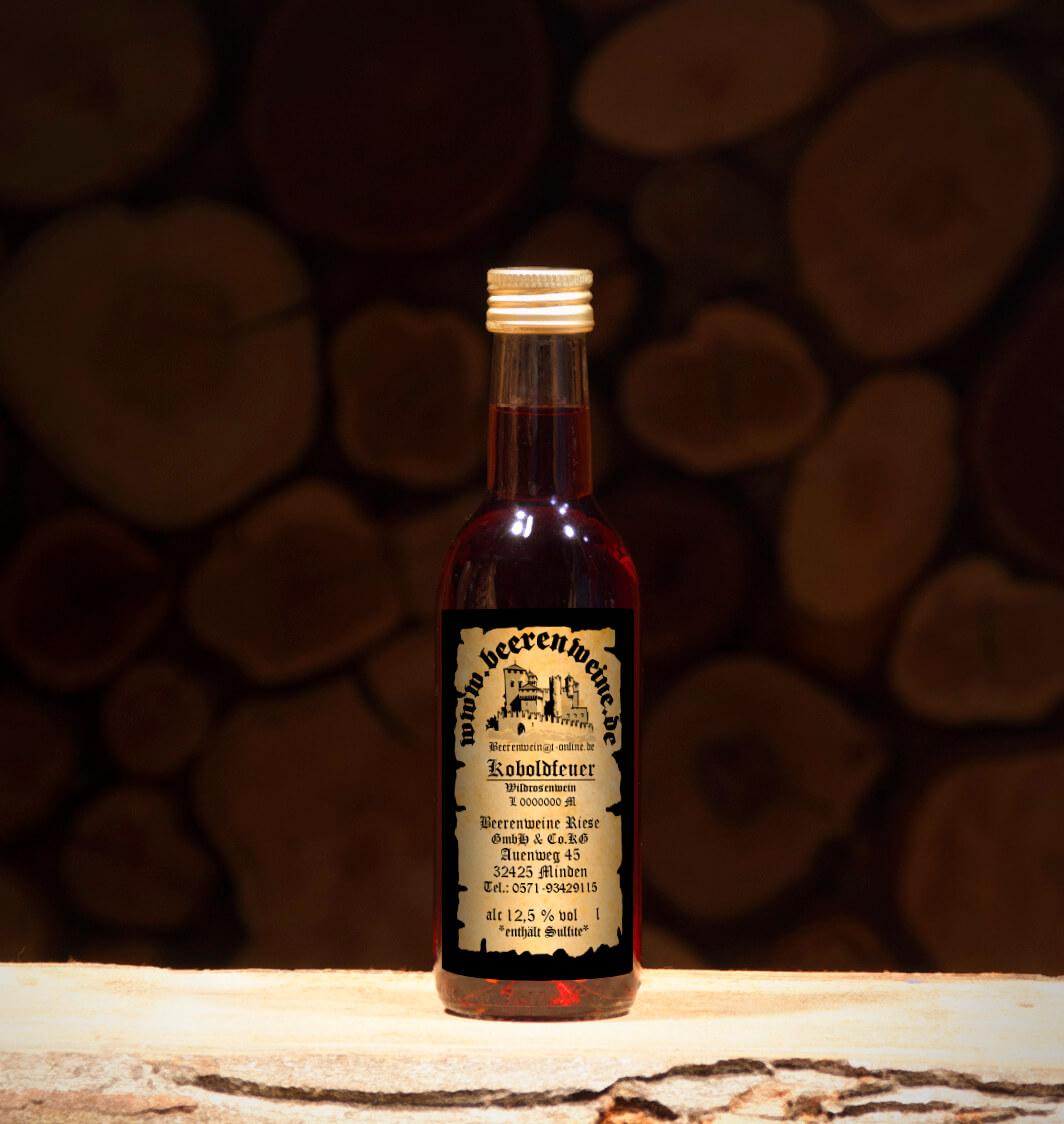 Koboldfeuer / Wildrosenwein 0,25 Liter Bordeauxflasche