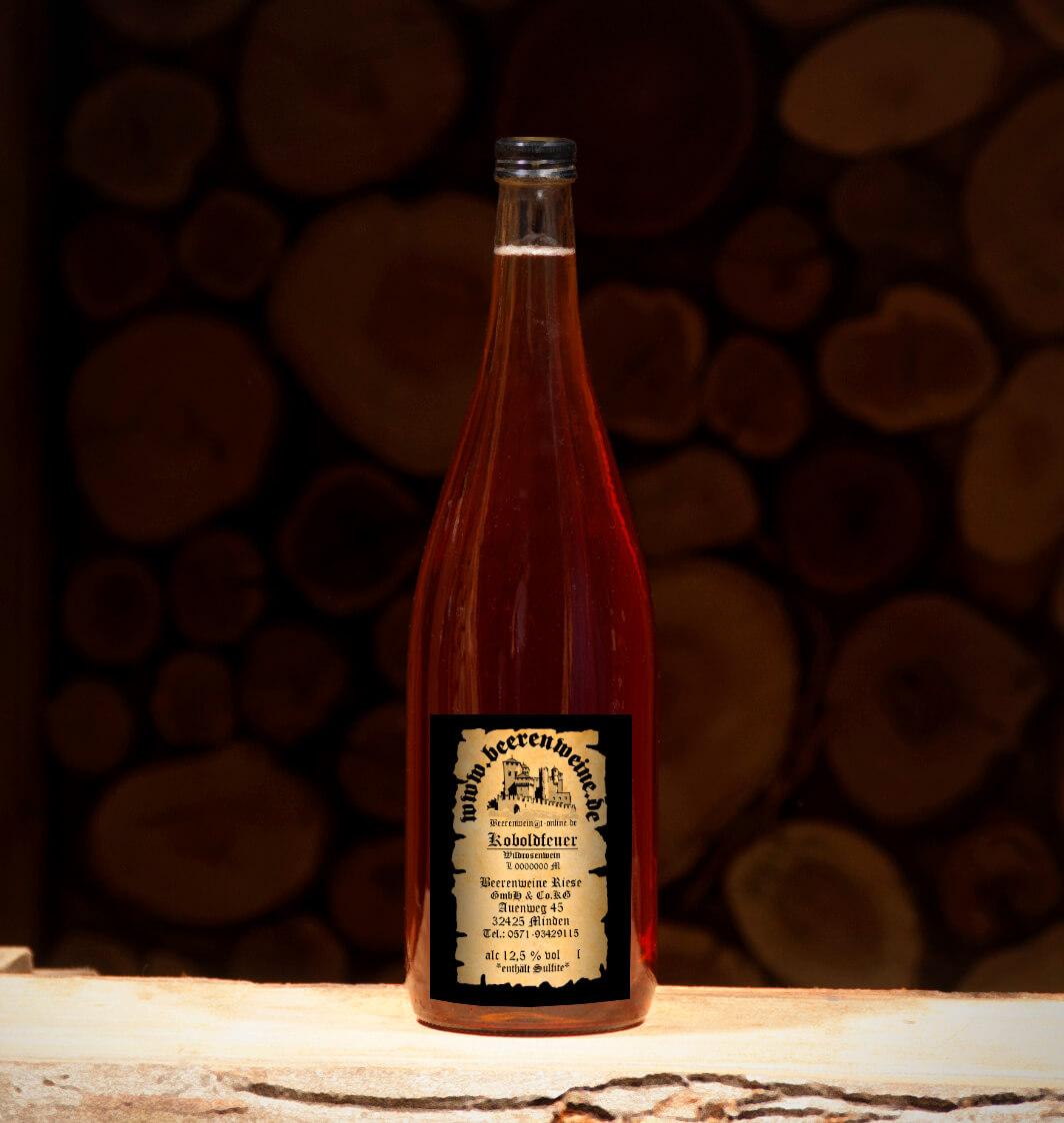 Koboldfeuer / Wildrosenwein 1,0 Liter Euroflasche